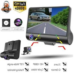 "1080P 4"" Dual Lens HD Car DVR Rearview Video Dash Cam Record"