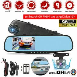 1080P Rearview Mirror Car DVR Dual Dash Cam Camera Front Rea