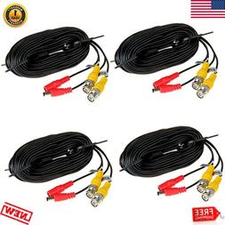 4x 66FT CCTV DVR Camera Video Recorder Cable Power Security