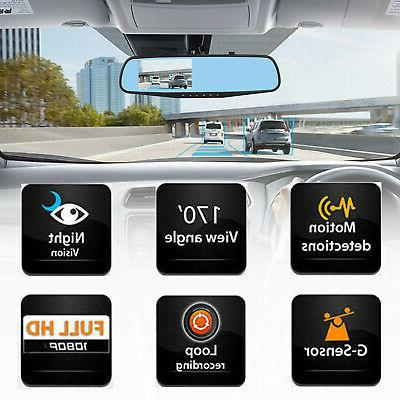 1080P Rearview Mirror DVR Dual Camera Front Video