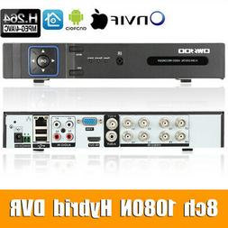 OWSOO 8CH 1080P 5-in-1 DVR Video Recorder CCTV Security H.26