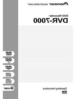 Pioneer DVR-7000 DVD Recorder Owners Instruction Manual